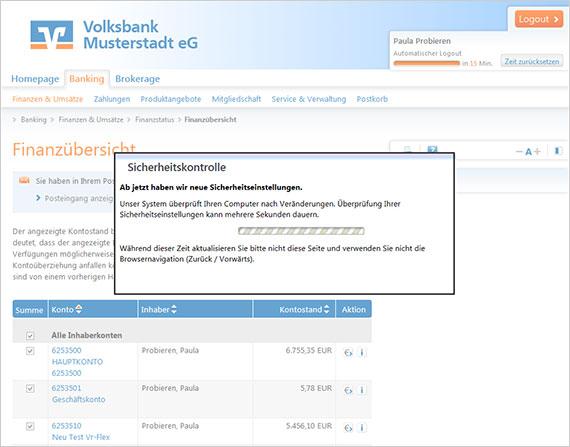 Ansicht Phishing-Mail, Vorwand: Sicherheitskontrolle